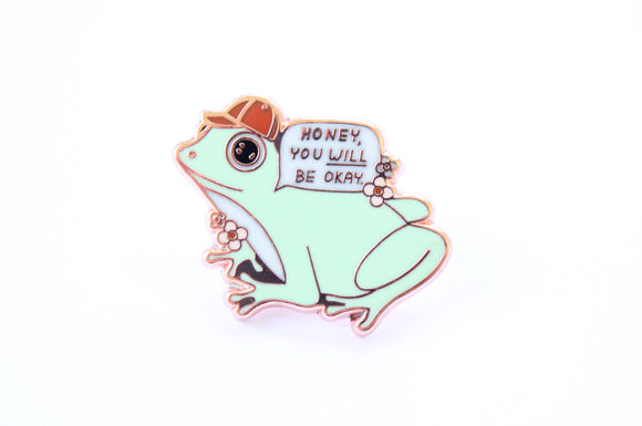 It Will Be Okay Frog Pin Green