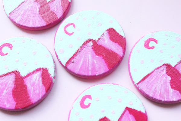 Hand Painted Pink Landscape Pin