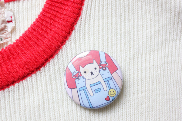 Kitty Overalls Button