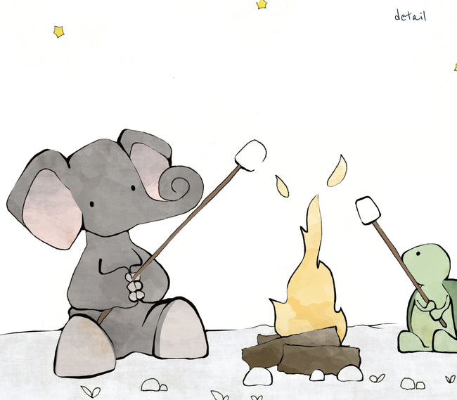 Elephant and Turtle Art Print - Roasting Marshmallows