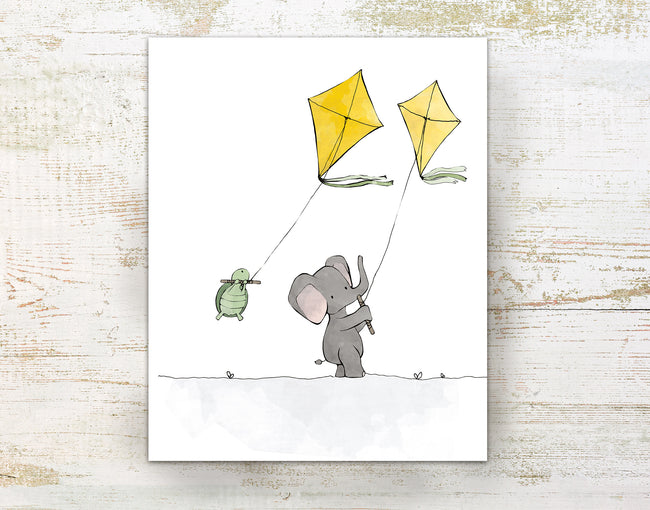Elephant and Turtle Art Print - Flying Kites (White Sky)