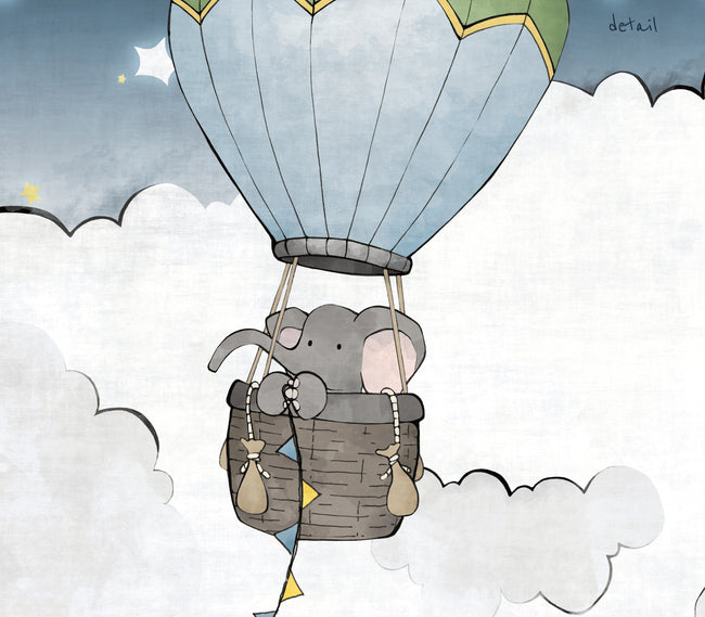 Elephant and Turtle Art Print - Hot Air Balloon Adventures