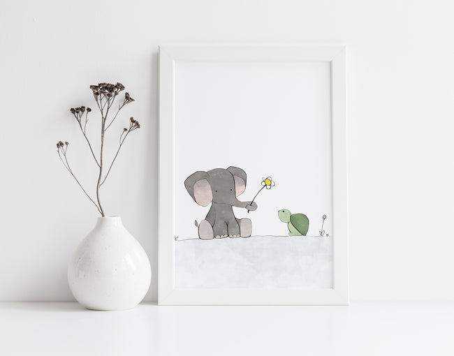 Elephant and Turtle Art Print - Sharing a Flower