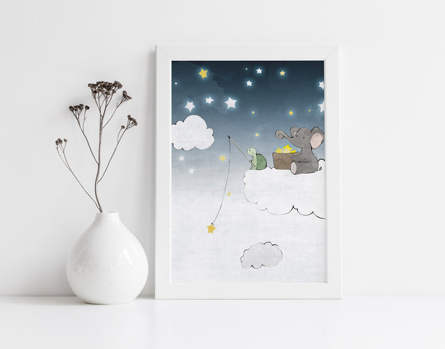 Elephant and Turtle Art Print - Fishing for Stars