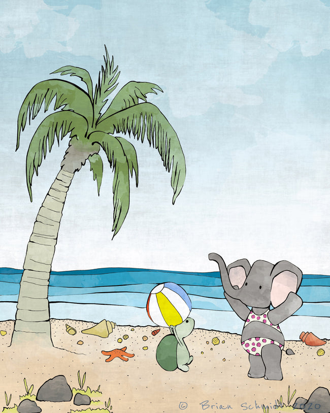 Elephant and Turtle Art Print - At the Beach