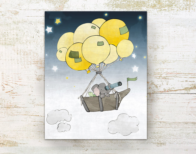 Elephant and Turtle Art Print - Sky Sailing in Boat and Balloons