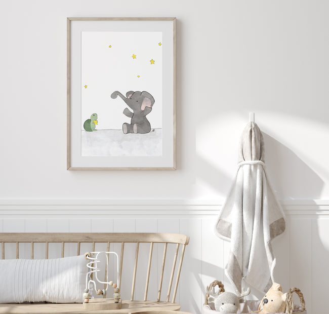 Elephant and Turtle Art Print - Stars