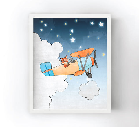 Fox and Rabbit Art Print - Airplane