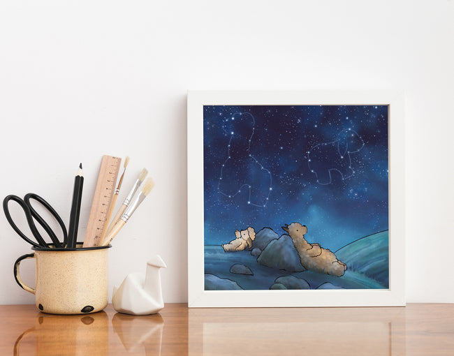 Alpaca & Sheep Art Print - Animal Constellations