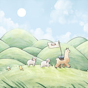 Alpaca & Sheep Art Print - Traveling Through Hills