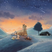 Alpaca & Sheep Art Print - Shooting Stars