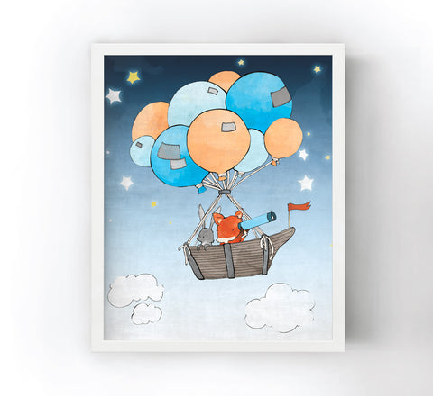 Fox and Rabbit Art Print - Balloon Boat