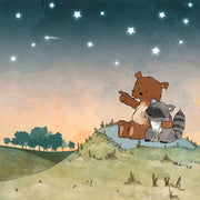 Bear and Raccoon Art Print - Shooting Stars