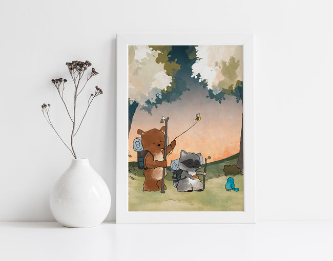 Bear and Raccoon Art Print - Hiking Through the Woods