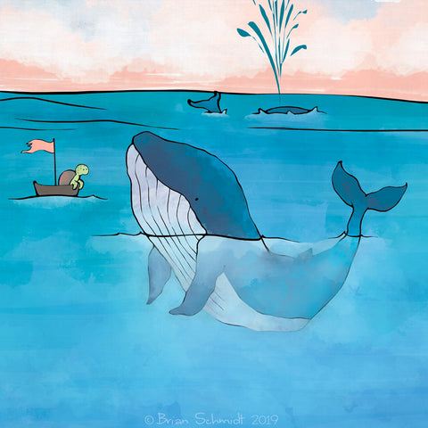 Blue Whale Art Print - With Sea Turtle