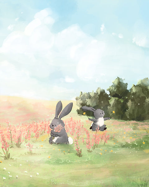 Rabbit Art Print - Running with Flowers