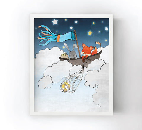 Fox and Rabbit Art Print - Star Fishing