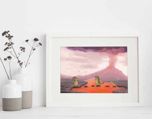 Dinosaur Art Print - The Floor is Lava