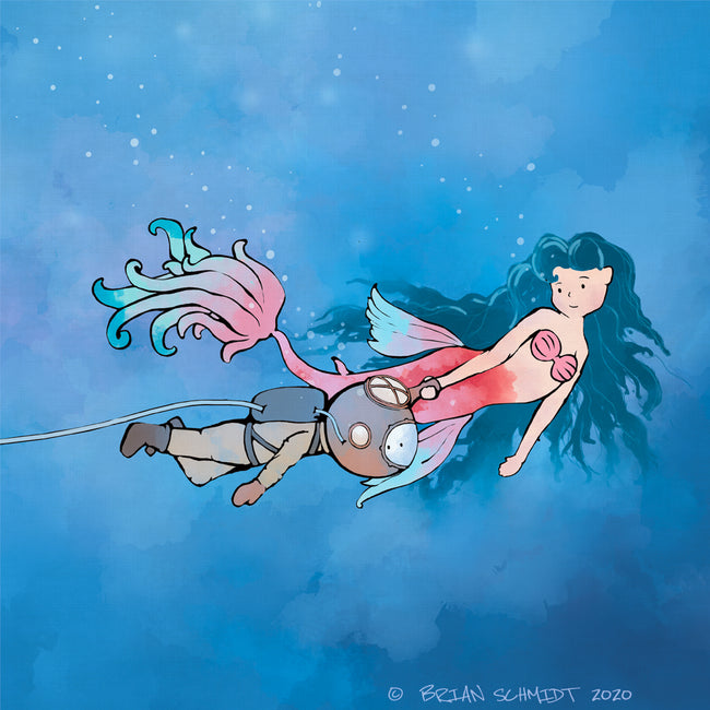Mermaid Art Print - With Scuba Diver