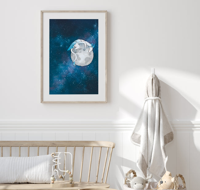 Feather Dragon Art Print - Sleeping on the Moon