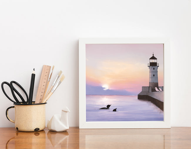 Duluth North Pier Lighthouse Art Print - Lake Birds