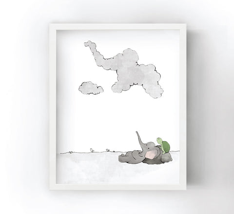 Elephant and Turtle Art Print - Cloud Gazing (White Sky)
