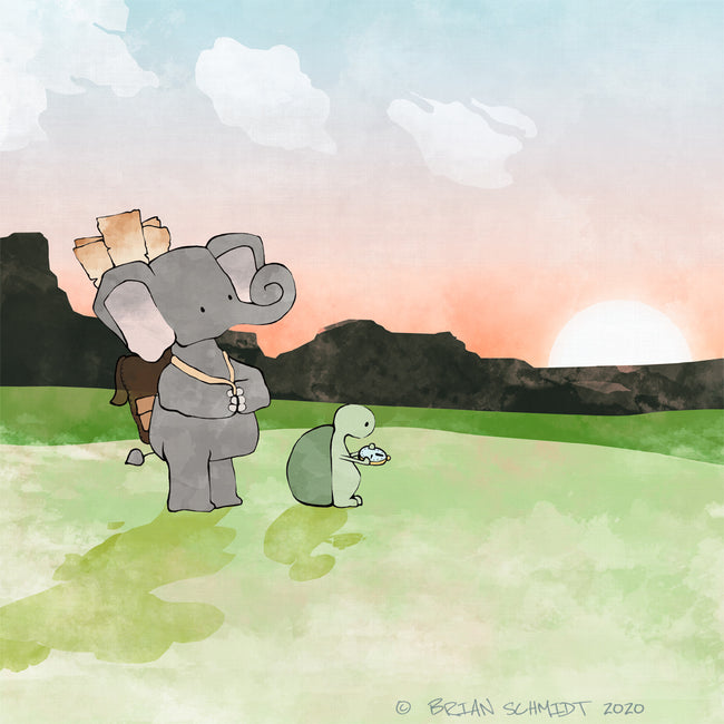 Elephant and Turtle Art Print - On a Quest