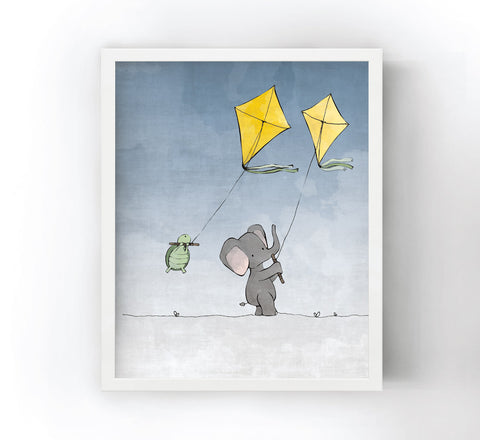 Elephant and Turtle Art Print - Flying Kites (Blue Sky)