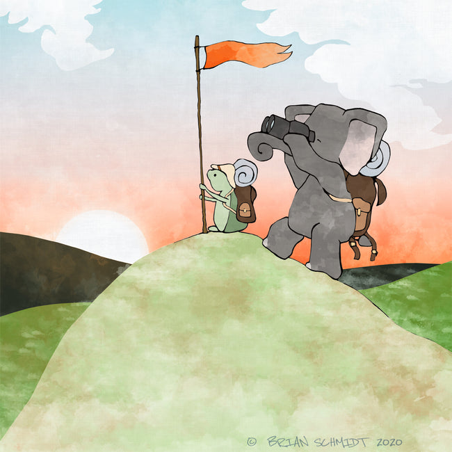 Elephant and Turtle Art Print - Climbing to a Peak