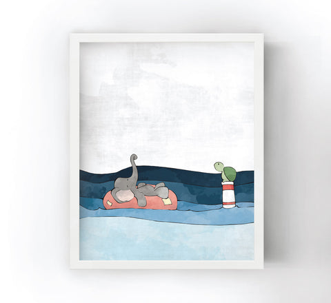 Elephant and Turtle Art Print - Floating Around