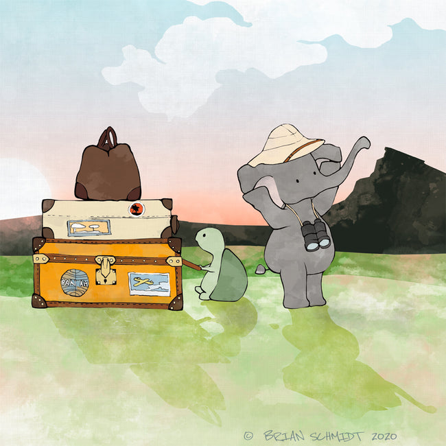 Elephant and Turtle Art Print - Hauling Luggage
