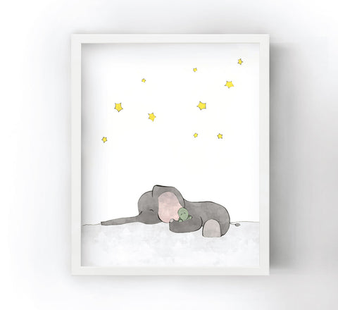 Elephant and Turtle Art Print - Napping