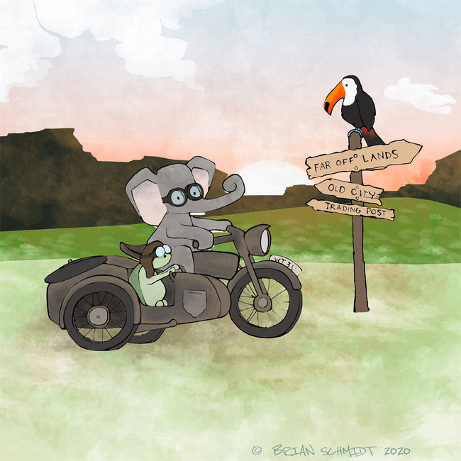 Elephant and Turtle Art Print - Vintage Motorcycle