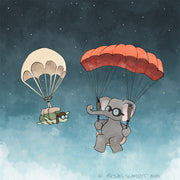 Elephant and Turtle Art Print - Parachuting