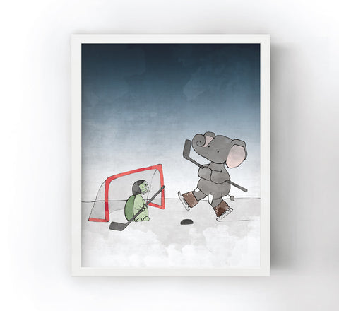 Elephant and Turtle Art Print - Playing Hockey