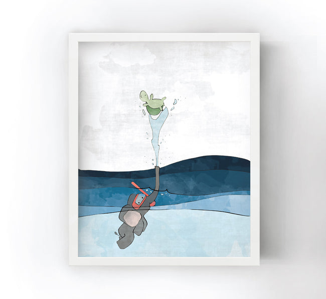 Elephant and Turtle Art Print - Snorkeling