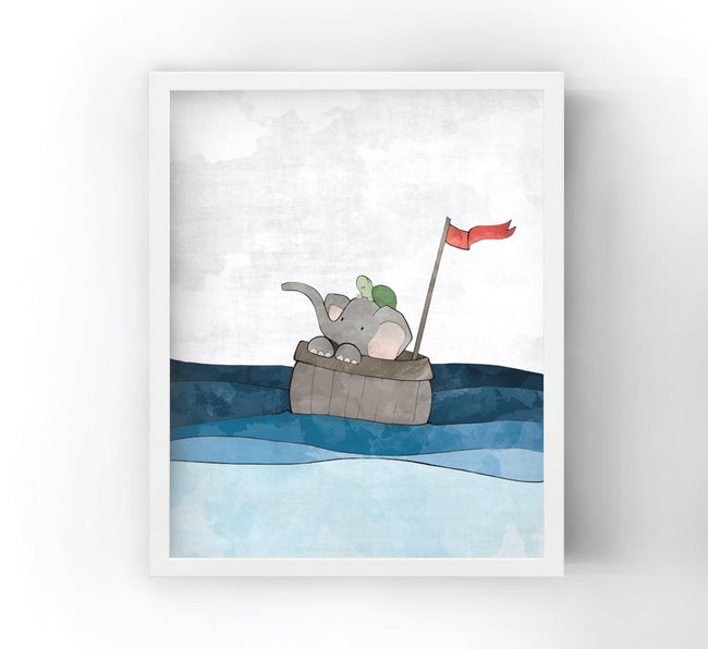 Elephant and Turtle Art Print - Setting Sail