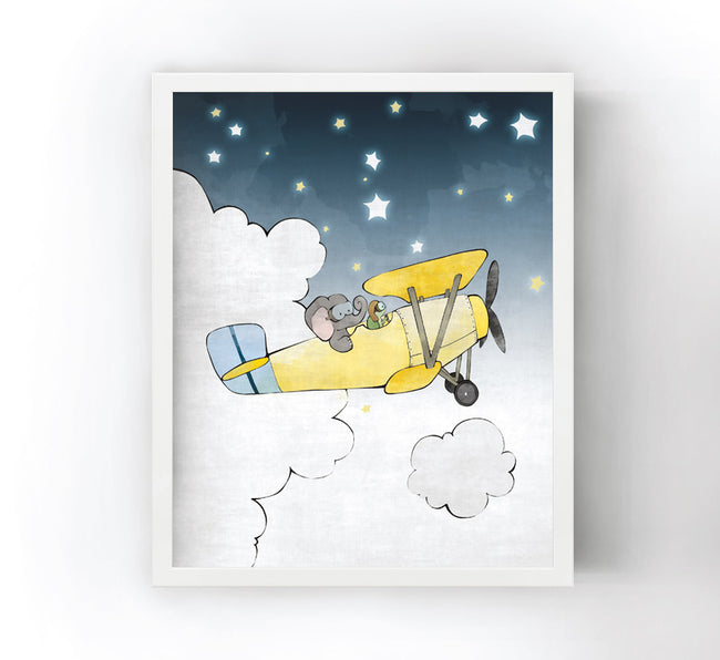 Elephant and Turtle Art Print - Flying an Airplane