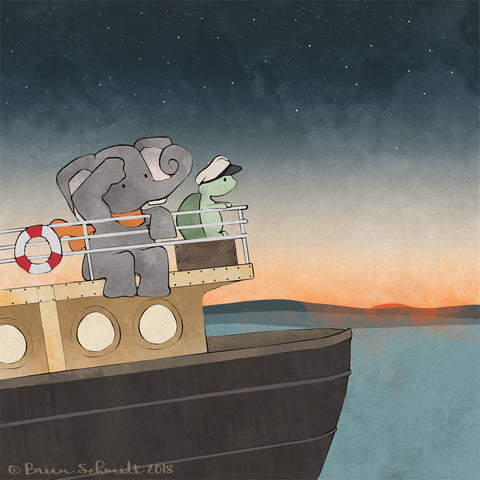 Elephant and Turtle Art Print - Steamboat Adventures