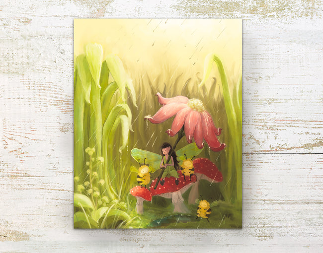Fairy Art Print - Sheltering the Bees