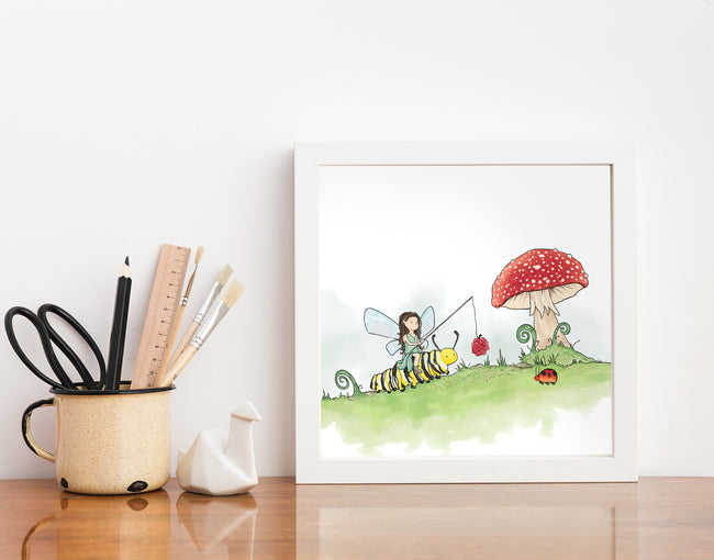 Fairy Art Print - Riding a Caterpillar