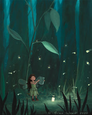 Fairy Art Print - Firefly Forest