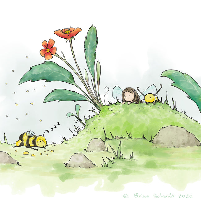 Fairy Art Print - Spying a Bumble Bee