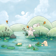 Alpaca & Sheep Art Print - Playing at the Pond