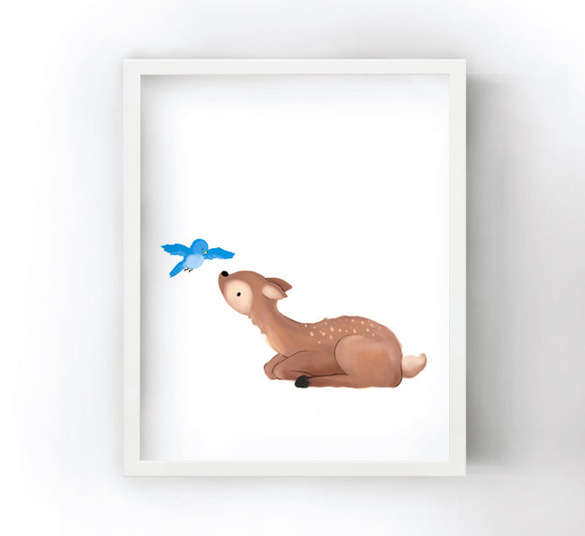 Fawn Art Print - with Bird