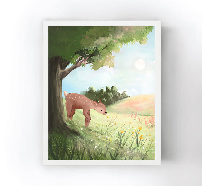 Fawn Art Print - Smelling the Flowers
