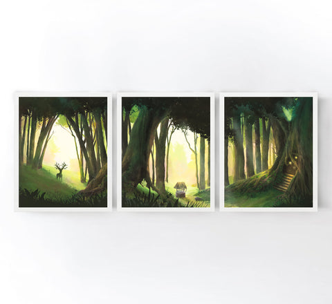 Enchanted Forest Set of 3 Art Prints