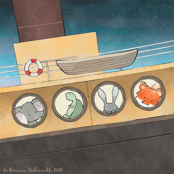 Steamboat Adventures Art Print - Animals in Portholes