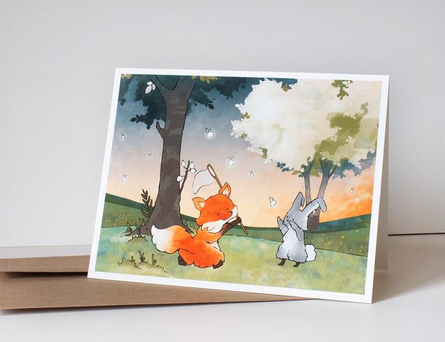 Fox & Rabbit Greeting Card - Chasing Fireflies
