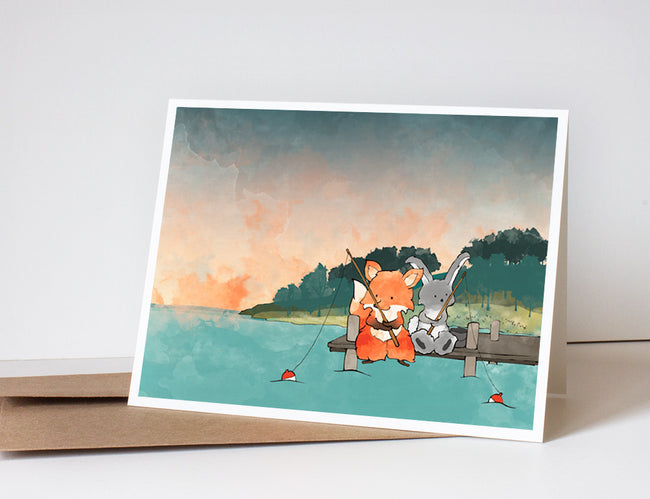 Fox and Rabbit Greeting Card - Fishing